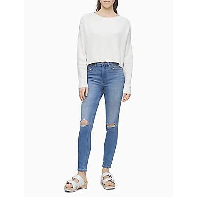 Skinny Mid Rise Aspen Wash Distressed Jeans