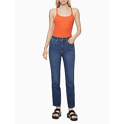 Slim Fit High Rise Logo Tape Piped Jeans