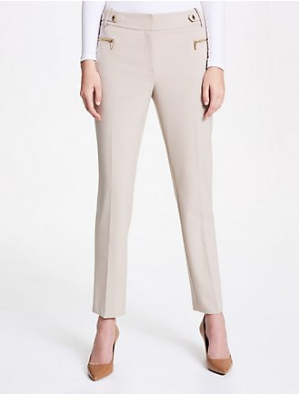 6fcc24a069 heathered zip tailored pants