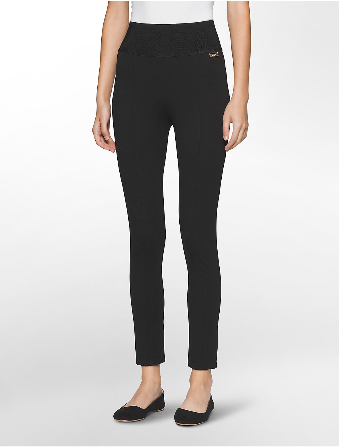 Pinstripe Compression Pants Calvin Klein D Island Casual Wrinkle Vintage Power Stretch Wide Waistband Leggings
