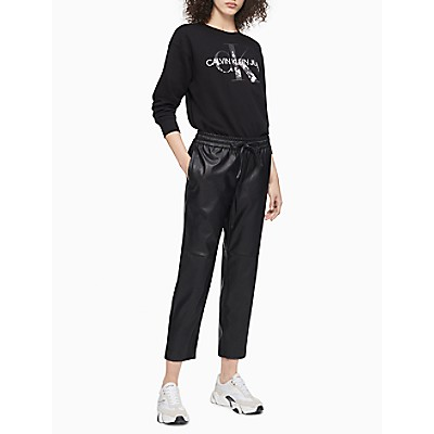 Solid Coated Pull-On Cropped Pants
