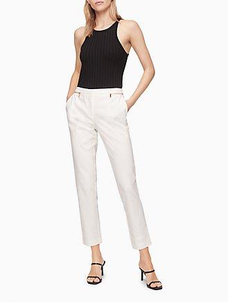 2f226b2a53 slim cotton stretch zip ankle pants