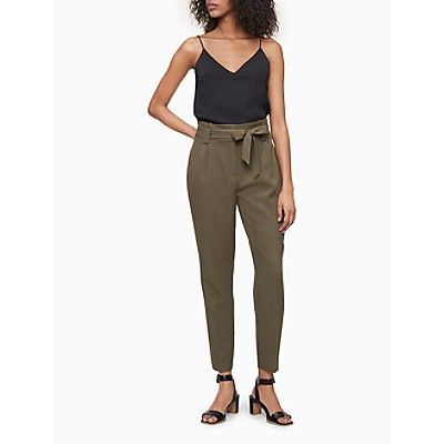 Solid Tie Waist High Rise Ankle Pants