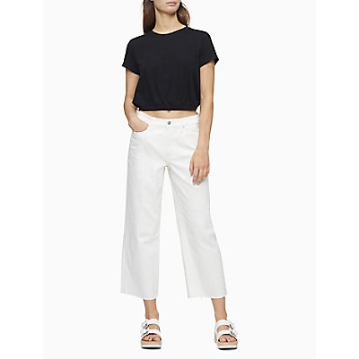 Straight Fit High Rise Wide Leg Cropped Jeans