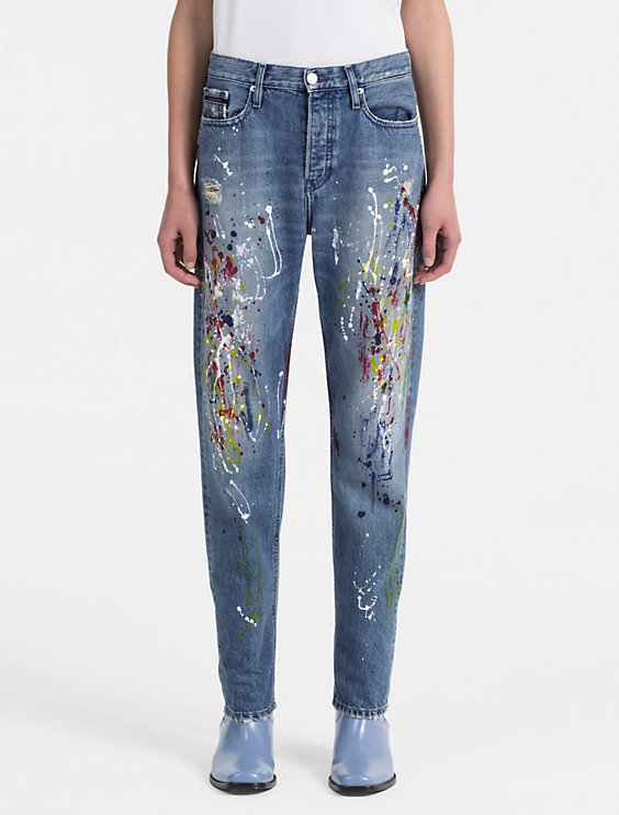straight leg high rise paint splatter jeans