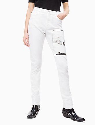 warhol landscape high rise slim white jeans e42a83aa896