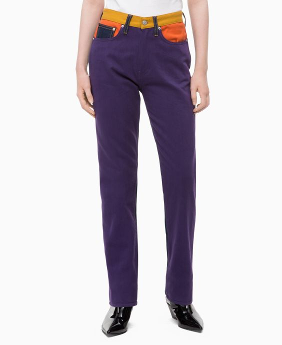 Straight High Rise Colorblocked Patch Jeans by Calvin Klein
