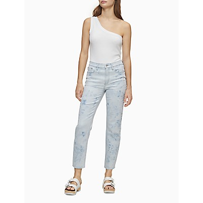 Straight Fit High Rise Light Wash Cut-Off Ankle Jeans