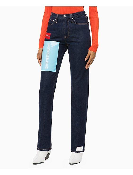 Clearance straight high rise logo jeans a4b810e4f2