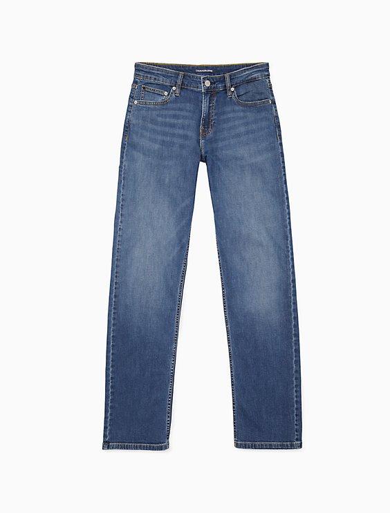 a7b3b82a straight leg mid rise hamptons blue jeans | Calvin Klein