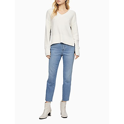Slim High Rise Piped Denim Ankle Jeans