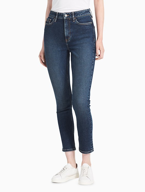 fa2dca96e078 skinny high rise mid-blue ankle jeans   Calvin Klein
