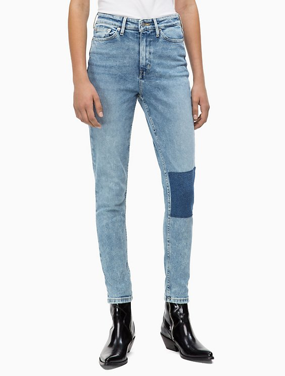 db36569a194cf skinny high rise light patch ankle jeans | Calvin Klein