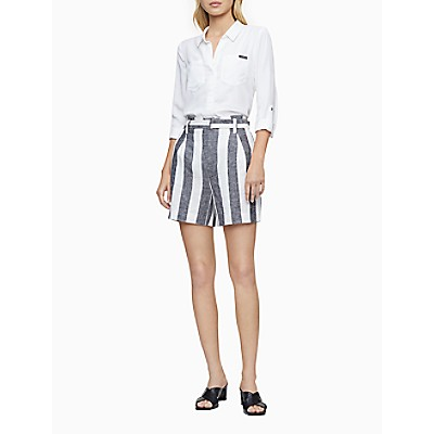Ramie Blend Grey White Stripe Belted High Waist Shorts