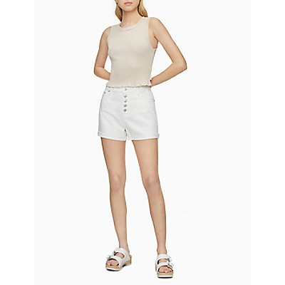 White Denim High Rise Button-Fly Shorts