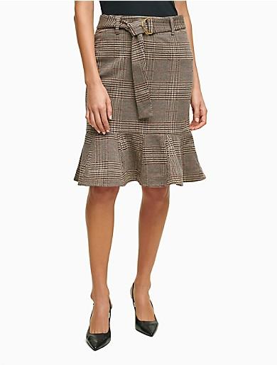 Image of Tartan Peplum Knee-Length Skirt