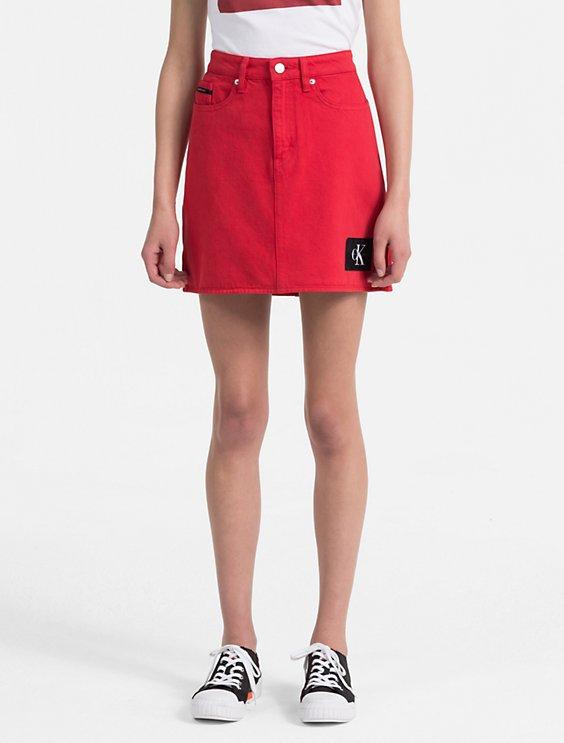 e697f5578e tango red denim mini skirt   Calvin Klein