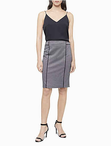 Image of Piped Houndstooth Pencil Skirt