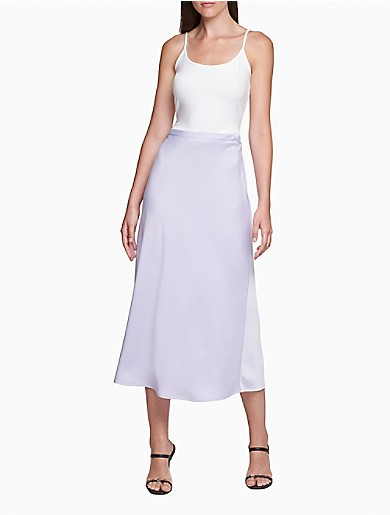 Image of Solid A-Line Midi Skirt