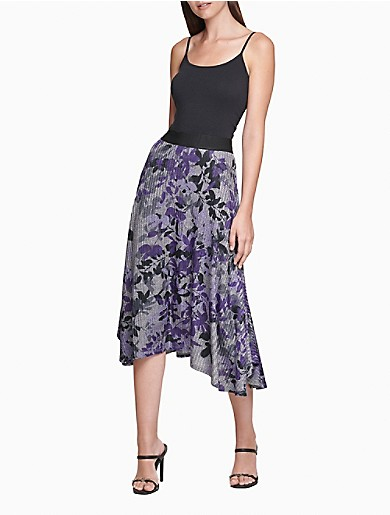 Image of Printed A-Line Midi Handkerchief Hem Skirt