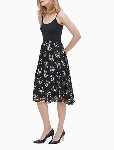 Image of Floral Pleated Skirt