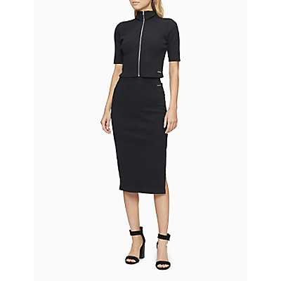 Solid Ribbed Logo Patch Midi Skirt