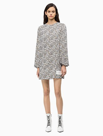 561ae6df3da9 Printed Puff-Sleeve Mini Dress