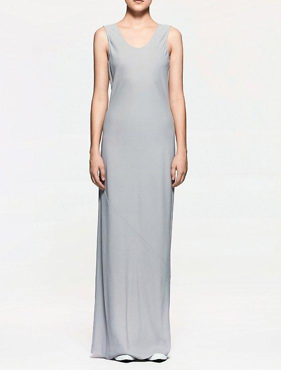 platinum crepe sleeveless evening dress | Calvin Klein