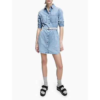 Relaxed Fit Belted Denim Shirt Dress   Calvin Klein