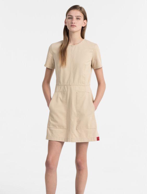 Cotton Twill Dress Calvin Klein