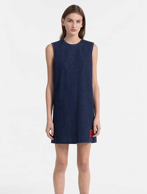 Denim Logo Patch Shift Dress