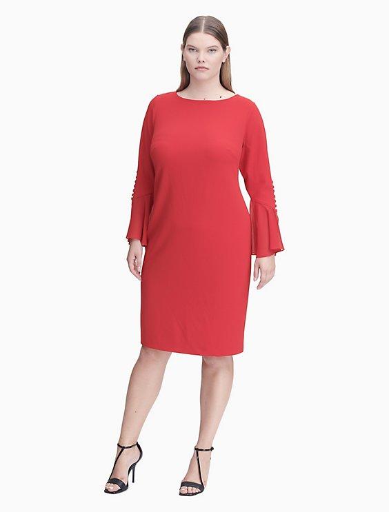 plus size scuba crepe button chiffon cuff sheath dress | Calvin Klein