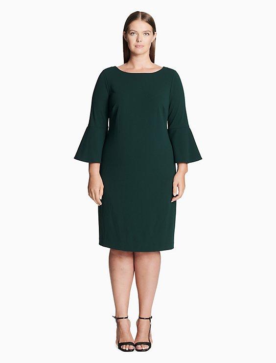 Plus Size Bell Sleeve Sheath Dress Calvin Klein