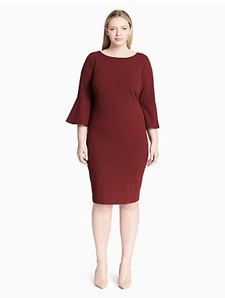 4a03fb26cd3 plus size bell sleeve sheath dress