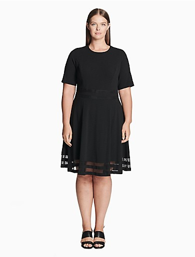 b22f5857b54 plus size illusion short sleeve fit + flare dress