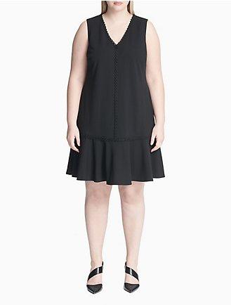 efa1b138eb2 Plus Size V-Neck Eyelet Ruffle Hem Dress