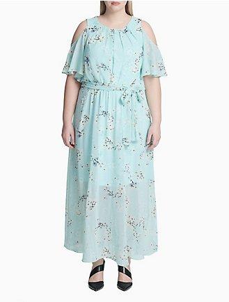 e34a5b94 Plus Size Floral Chiffon Cold Shoulder Belted Dress