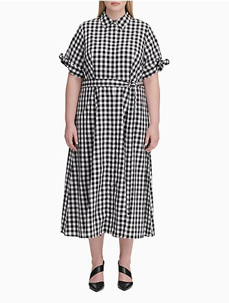fc1d242f70f Plus Size Gingham Tie Sleeve Maxi Dress