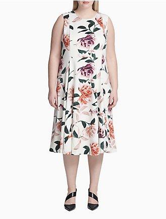 a8e8fea1d Plus Size Floral A-Line Dress