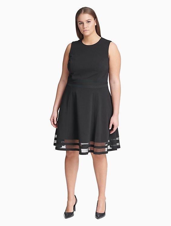 4cf0e51186571 Clearance plus size illusion fit + flare dress
