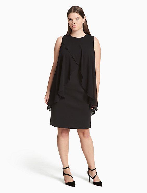 Plus Size Chiffon Drape Scuba Sheath Dress Calvin Klein