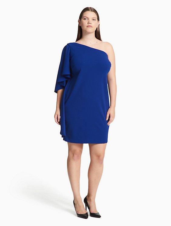 Plus Size One Shoulder Ruffle Sheath Dress Calvin Klein