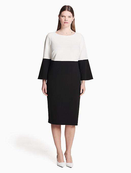 plus size colorblock bell sleeve dress