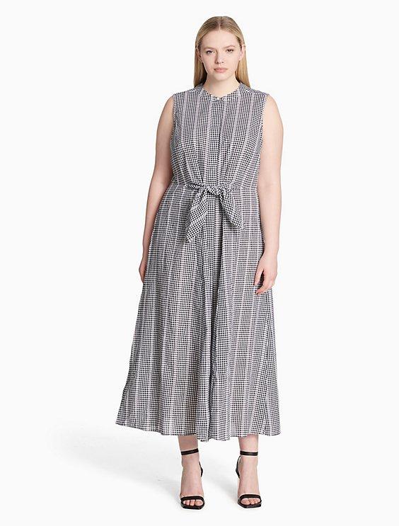 Plus Size Gingham Maxi Dress Calvin Klein