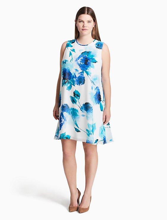 Plus Size Floral Chiffon Trapeze Dress Calvin Klein