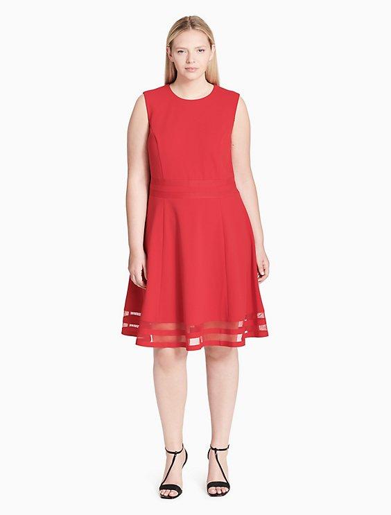 plus size illusion fit + flare dress | Calvin Klein