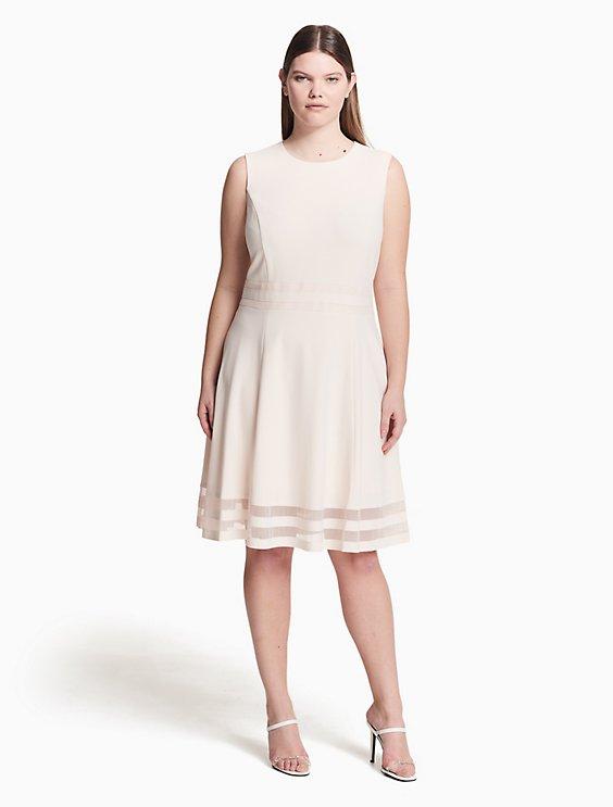 Plus Size Illusion Fit Flare Dress Calvin Klein