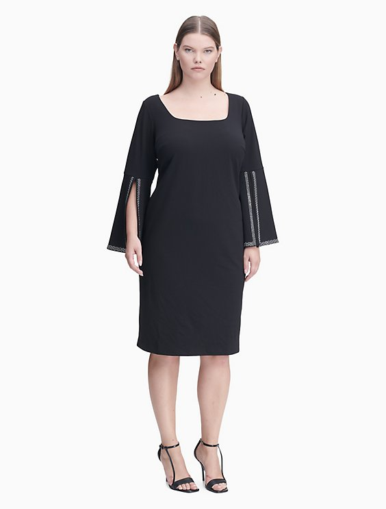Plus Size Beaded Split Cuff Sheath Dress Calvin Klein