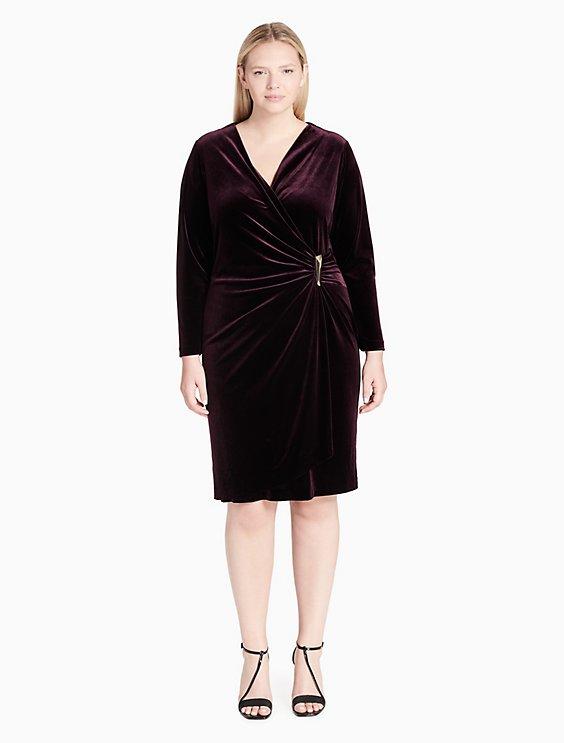 Plus Size Velvet V Neck Wrap Dress Calvin Klein
