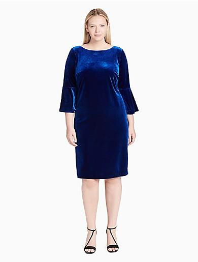 cbadd37aba2 plus size velvet 3 4 bell sleeve dress